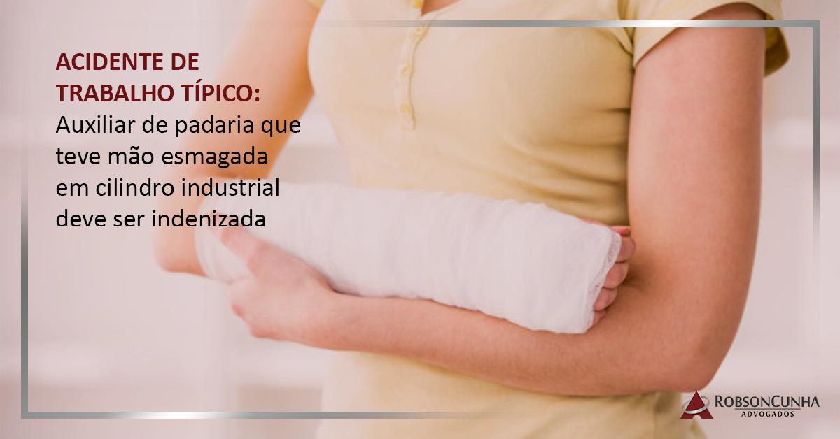 ACIDENTE DE TRABALHO TÍPICO: Auxiliar de padaria que teve mão esmagada em cilindro industrial deve ser indenizada